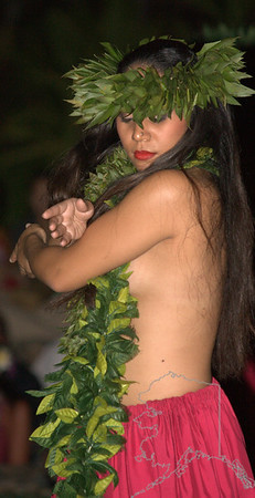 Telling her story in the Luau at Old Lahaina Luau Maui.