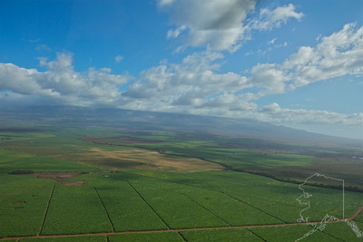 Helicopter Ride over Maui and Molokai. A lot of nice rainbows this trip. Maui. Sugar Cane Fields.