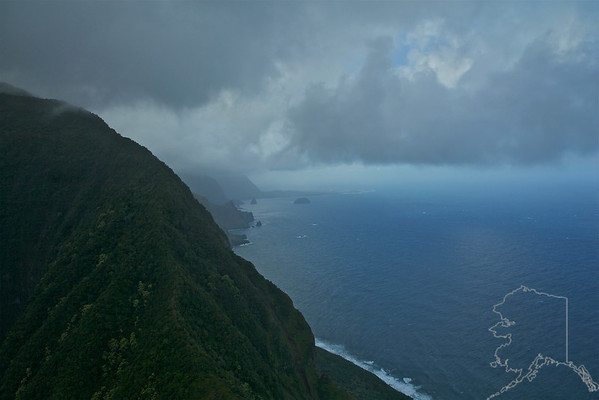 Helicopter Ride over Maui and Molokai. A lot of nice rainbows this trip. Cliffs on Molokai.