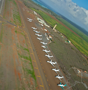 Helicopter Ride over Maui and Molokai. A lot of nice rainbows this trip. Maui Airport.