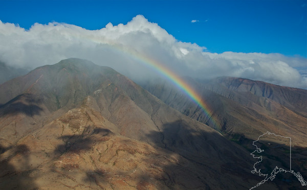 Helicopter Ride over Maui and Molokai. A lot of nice rainbows this trip. Maui.