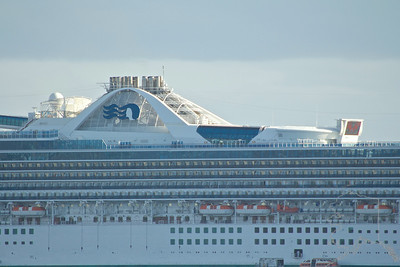 Star Princess sitting at anker at Maui. Can you see the people on board? This ship is Big!