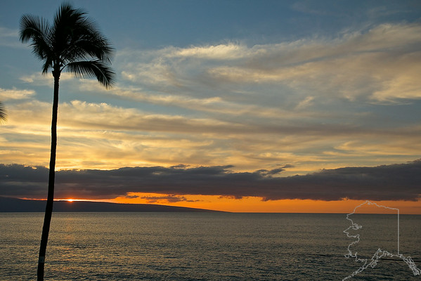 The view from the condo at sunset. The island you see in the background is Lanai.