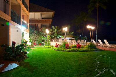 Right off the lanai at Makani Sands Condos. Tiki torches are lit every night next to the BB-Q pits.