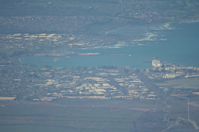 This is the city of Kahului from Haleakalā Volcano. At 10,000 feet the crews ship looks like a toy.