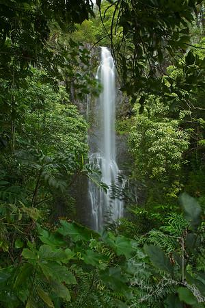 Wailua Falls is the wildly popular waterfall along the Hana Hwy. Wailua Falls is about 80 ft. high