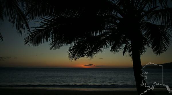 Sunset at Kihei beach Maui Hawaii.