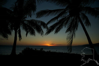 Sunset at Kihei beach Maui Hawaii.
