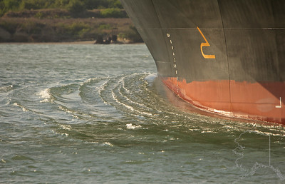 Bow wave on an oil tanker.