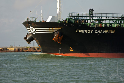 Bow of an Oil Tanker coming through the shipping channel at Port Aransas. You can usually see dolphins ridding the bow wave of big ships like this but not today. Can you see the sun bather?