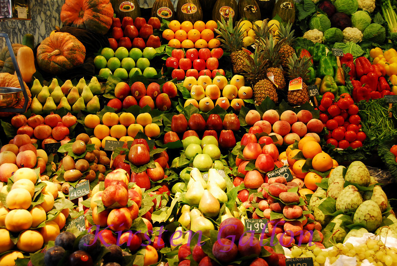 Fruit display at La Bouqueria Market on Las Ramblas