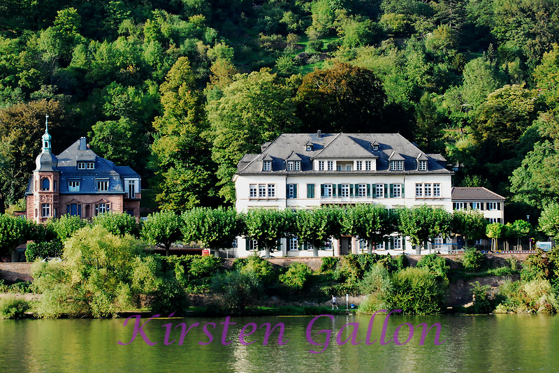 A couple of homes located along the Rhein River in Heidelberg. If you look real close you can see a runner jogging down a walking/running path beside the river.