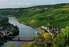 Bernkastel-Kues separated by the Mosel River.  You can see the grapevines on the hillsides for miles and miles.  The region is very well known for it's fabulous German wines.
