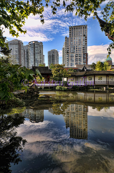 Part of downtown Vancouver behind Dr. Sun Yat Sen's Chinese garden.