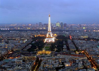View of Paris & Eiffel Tower from Tour Montparnasse Paris, France