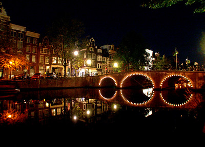 Canal at night  Amsterdam, Netherlands