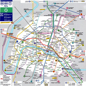 Map of Paris metro system.  The Métro opened on 19 July 1900, its first line being from Porte de Vincennes to Porte Maillot (not surprising it is now the line number 1). Fulgence Bienvenüe was the engineer in charge of construction, the architect Hector Guimard being responsible for the Art Nouveau entrances. The system has 199 km (124 miles) of track and 15 lines. There are 368 stations (not including RER stations), 87 of these being interchanges between lines. Every building is within 500 metres of a métro station. There are 3500 cars which transport roughly 6 million people per day. There are 15000 employees of the métro (1989 statistics).