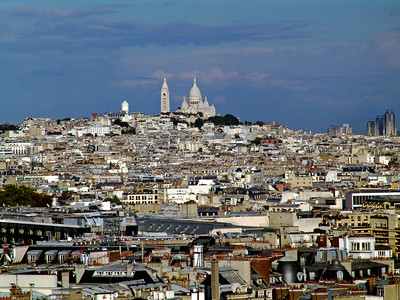 The view of Sacre Coeur Basilica from the top of Notre Dame Cathedral