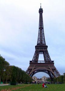 The Eiffel Tower, as seen from the Parc du Champ de Mars, Paris, France
