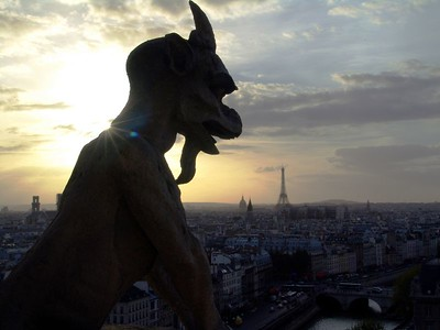 Notre Dame gargoyle at sunset