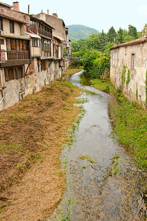 Houses facing on the River Blau at Chalabre