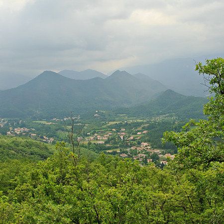 View of Quillan and the mist and cloud shrouded mountains.