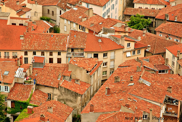 Detail of the roofs of the town near the Chateau