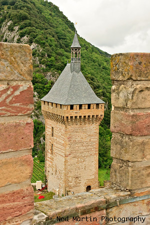 The square tower from the battlements at the  Chateau of Foix.