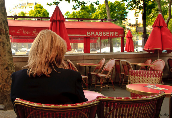 Sidewalk Cafe at Place Victor Hugo, Paris, France