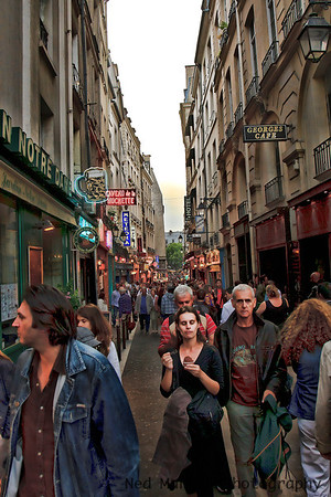 Saturday evening crowd in the Latin Quarter, Paris, France