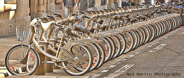 Velibres Stand, Paris, France. Velibres are bicycles available for free use.
