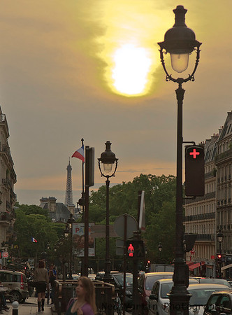 Evening view down the Rue Soufflot from the Pantheon, Paris, France