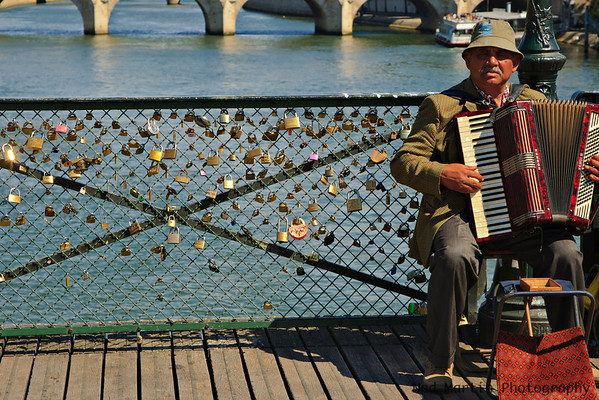 Love Locks or Love Padlocks on Le Pont des Arts, Paris, France