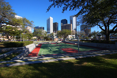 Root Memorial Square is a BBall Court accross the street from Toyota Center in Downtown Houston, Texas - Feb-2008
