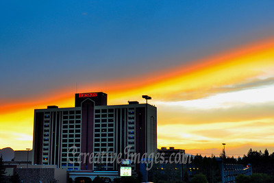 Visiting Reno and Lake Tahoe area.  Lake Tahoe, sunset over Horizon Casino.