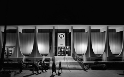 Chase Bank on South Palm Canyon, an icon of Mid-Century Modern architecture.  A color version of this view, shot from a double-decker tour bus, is in the Palm Springs 2013 gallery.