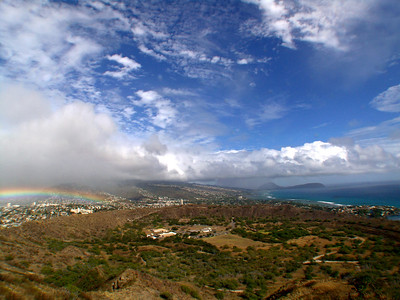 Viewing a rainbow from the top of Diamond Head