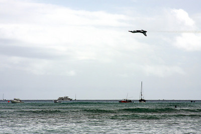 The Thunderbirds flying over Waikiki Beach, Hawaii