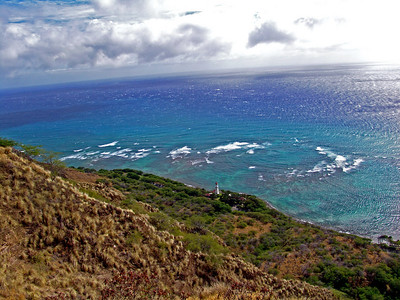 View of lighthouse and ocean from Diamond Head