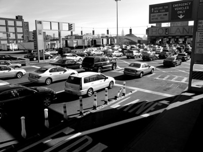 Traffic jam at the entrance to the Holland Tunnel