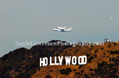 Endeavour Flying Over The Hollywood Sign