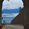 Through an arch view of Leonor K. Sullivan Boulevard, St. Louis, Missouri