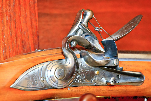 Flintlock on wall at the Governors' Mansion, Colonial Williamsburg