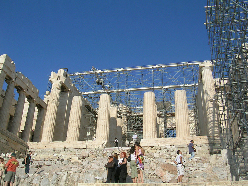 The Propylaea, Acropolis - Heavily scaffolded for restoration efforts (some of which is open to controversy and debate as to its necessity)
