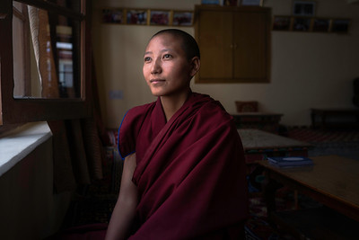 "Tsering Kunzom, from Zanskar. She took the decision of spending the rest of her life as a nun when she was just 7.   As we sat in the prayer hall, she told me, ""My family didn't even know about my decision to become a nun. Only my aunt, who's also a nun, knew about it. My mother cried when she saw her only daughter dressed as a nun for the first time. I want to complete my studies here and continue my higher education in Buddhism literature to become a philosopher. Hope my mother would be proud of my decision then."""