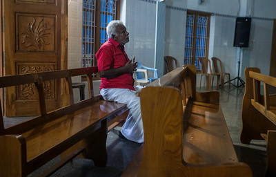 Ishayas, 80 has been a fishermen for last 60 years. Due to his age; he has stopped going for sails. In his prayer, he speaks aloud and cries infant of mother Mary about his woes as old man, who is not able to take care of his family. Arputha Annai (Giver Mary) Church, Pallam