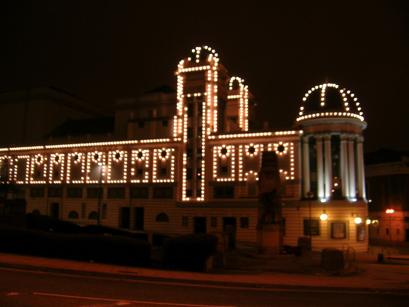 The Alhambra Theatre lit up at night