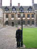 Tanya in front of Tudor roof gables - Peterhouse College