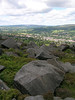 View over Ilkley from hillside rocks