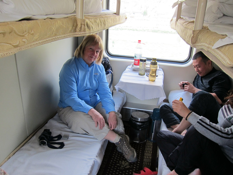 Shirley on her bunk. Train from Lhasa, Tibet to Xining, China (24 hrs).  Cabin held 6 people. 6/5/2012